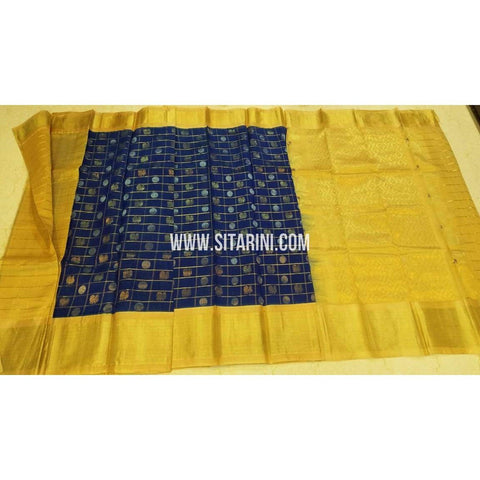 Kuppadam Saree-Pattu-Blue and Yellow-Sitarini-UMKHKPS294