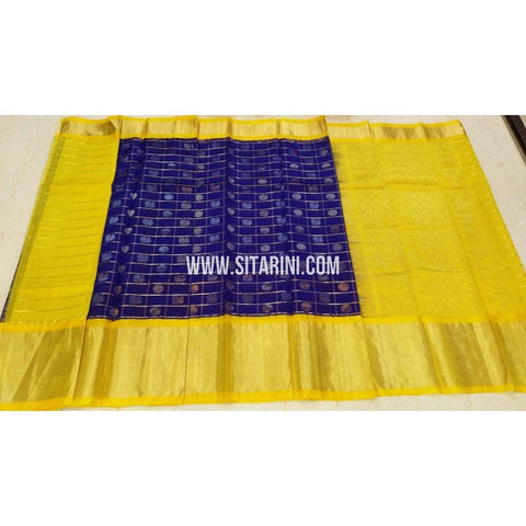Kuppadam Saree-Pattu-Blue and Yellow-Sitarini-UMKHKPS295