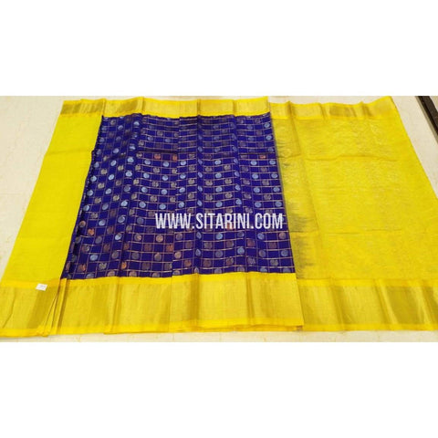 Kuppadam Saree-Pattu-Blue and Yellow-Sitarini-UMKHKPS296