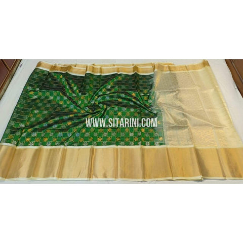 Kuppadam Saree-Pattu-Green and Half white-Sitarini-SITKUS281
