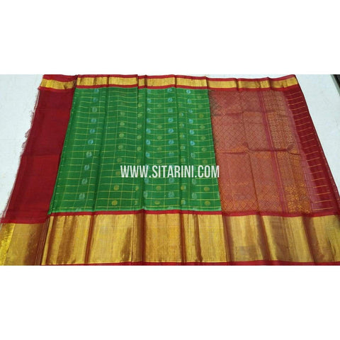 Kuppadam Saree-Pattu-Green and Maroon-Sitarini-UMKHKPS302