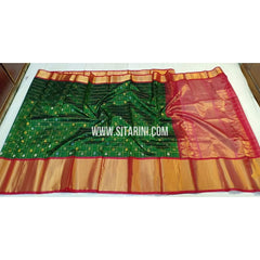 Kuppadam Saree-Pattu-Green and Red-Sitarini-SITKUS269