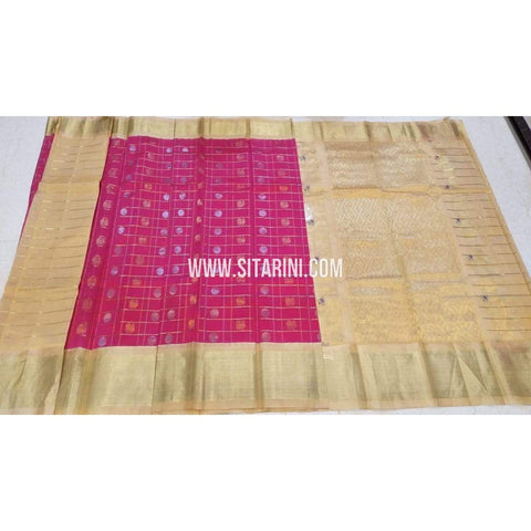 Kuppadam Saree-Pattu-Pink and Cream-Sitarini-UMKHKPS301
