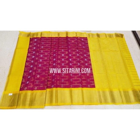 Kuppadam Saree-Pattu-Pink and Yellow-Sitarini-UMKHKPS293