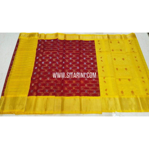 Kuppadam Saree-Pattu-Red and Yellow-Sitarini-UMKHKPS292