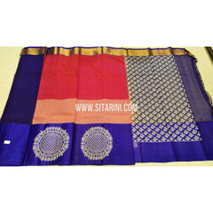 Kuppadam Saree-Red and Blue-Sitarini-SITKUS129