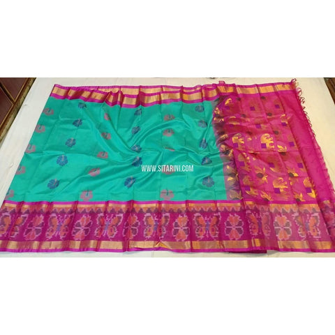 Kuppadam Saree with Pochampally Border-Silk-Sea Green and Pink-Sitarini-SITKUS235