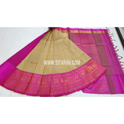 Kuppadam Silk Saree-Gold and Pink-Sitarini-SITKUS201