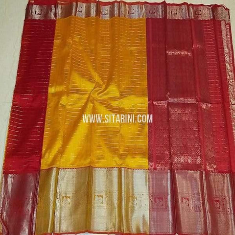 Kuppadam Silk Saree-Golden Yellow-Sitarini-SITKUS654