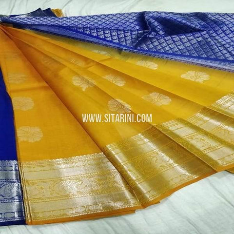 Kuppadam Silk Saree-Golden Yellow-Sitarini-SITKUS681