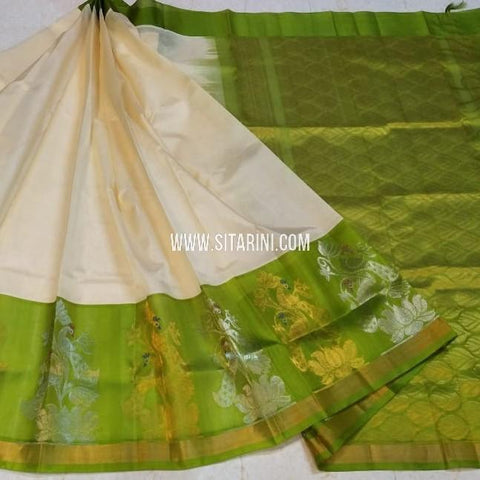Kuppadam Silk Saree-Off White-Sitarini-SITKUS540