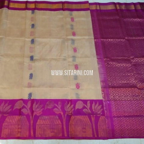 Kuppadam Silk Saree-Off White-Sitarini-SITKUS541
