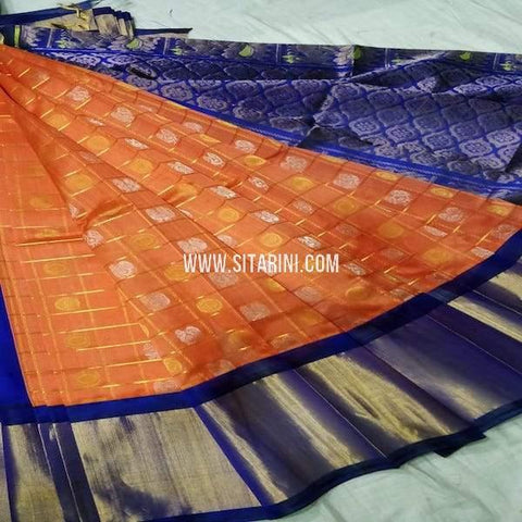 Kuppadam Silk Saree-Orange-Sitarini-SITKUS668