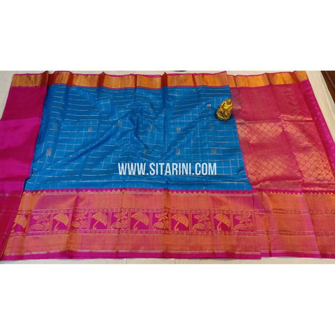 Kuppadam Silk Saree-Pink and Blue-Sitarini-ULVHKS103