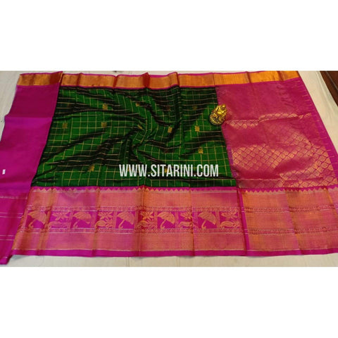 Kuppadam Silk Saree-Pink and Green-Sitarini-ULVHKS104