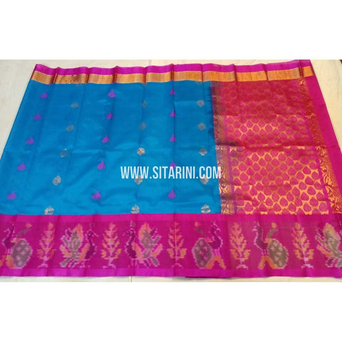 Kuppadam Silk Saree-Pochampally Border-Blue and Pink-ULVHKPBS110