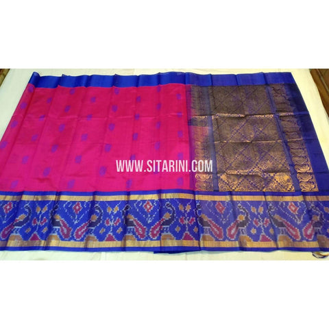 Kuppadam Silk Saree-Pochampally Border-Pink and Blue-ULVHKPBS112