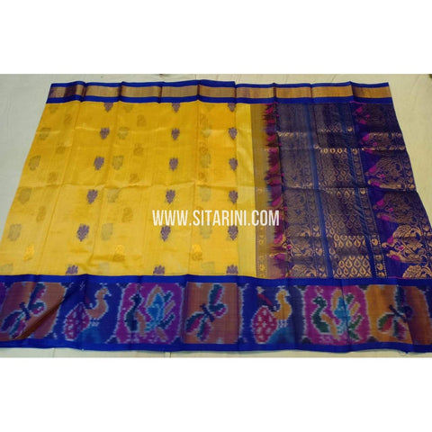 Kuppadam Silk Saree-Pochampally Border-Yellow and Blue-ULVHKPBS113
