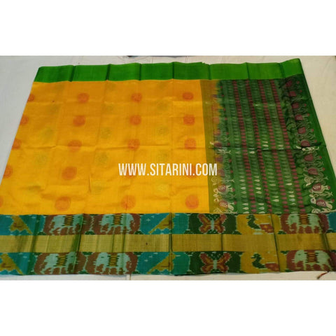 Kuppadam Silk Saree-Pochampally Border-Yellow and Green-ULVHKPBS114