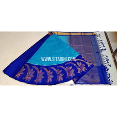 Kuppadam Silk Saree-Sky Blue and Royal Blue-Sitarini-SITKUS379