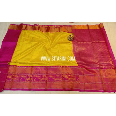 Kuppadam Silk Saree-Yellow and Pink-ULVHKS100