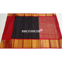 Kuppadam Silk Sarees-Black And Red-Sitarini-SITKUS423