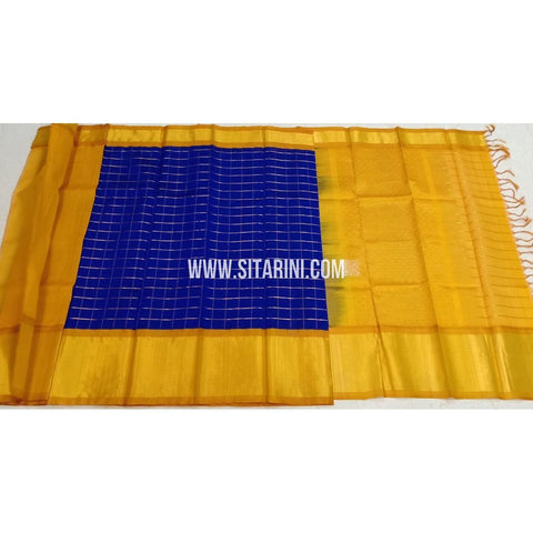 Kuppadam Silk Sarees-Blue And Yellow-Sitarini-SITKUS408