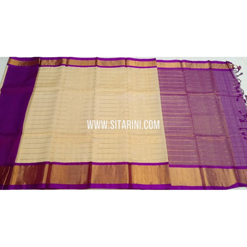 Kuppadam Silk Sarees-Cream And Purple-Sitarini-SITKUS409