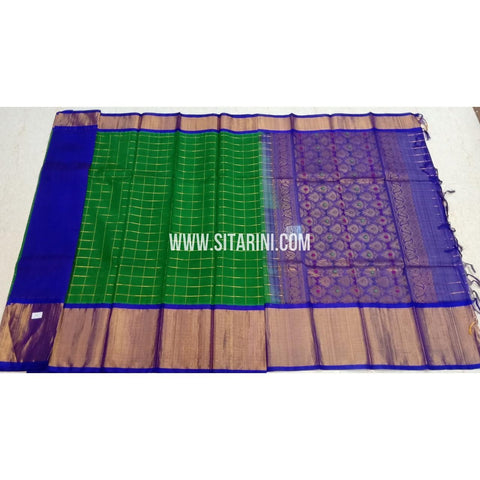 Kuppadam Silk Sarees-Green And Blue-Sitarini-SITKUS411