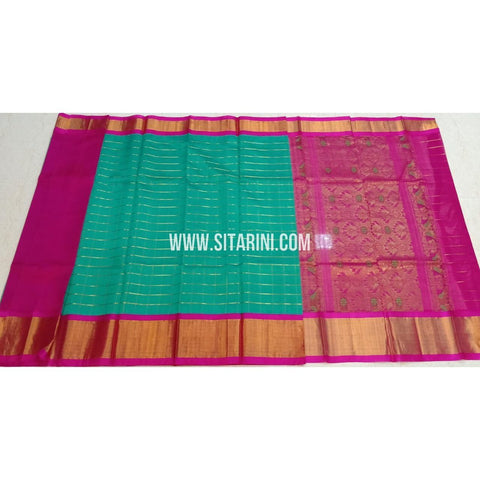 Kuppadam Silk Sarees-Sea Green And Pink-Sitarini-SITKUS407