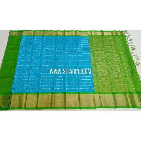Kuppadam Silk Sarees-Sky Blue And Green-Sitarini-SITKUS412