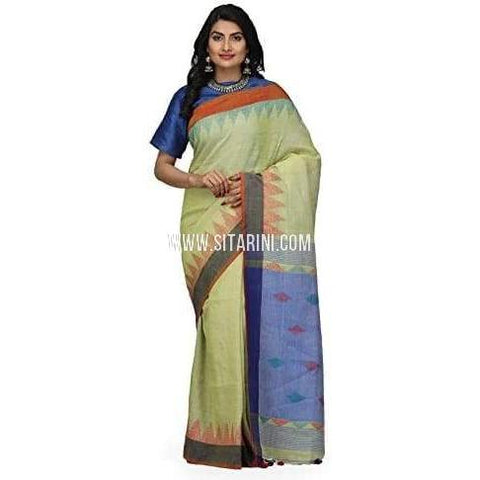 Linen Jamdani Sarees-Cream And Light Blue -Sitarini-LWTLS104