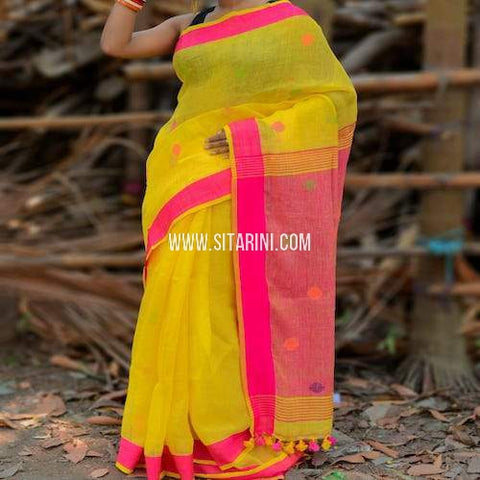 Linen Saree-Yellow-Sitarini-SITLS104