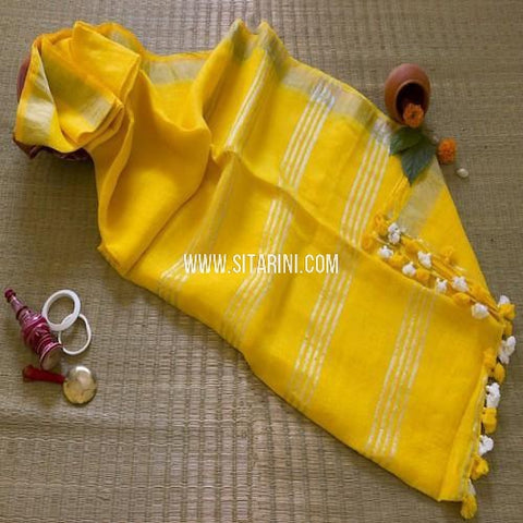 Linen Saree-Yellow-Sitarini-SITLS119