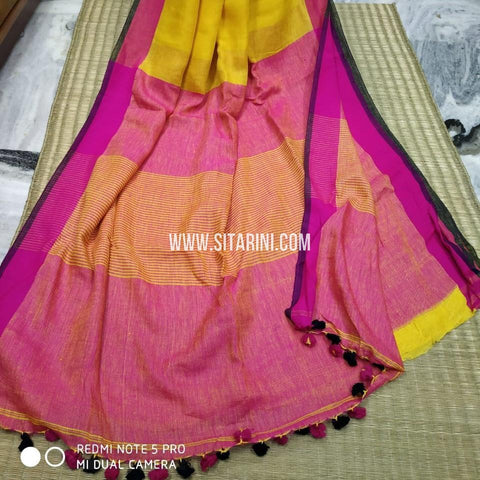 Linen Saree-Yellow-Sitarini-SITLS120