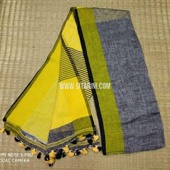 Linen Saree-Yellow-Sitarini-SITLS129