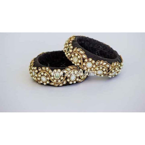 Maggam Work Bangles-Black-Broad-One Piece-Sitarini