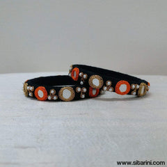 Maggam Work Bangles-Black-Thin-Sitarini
