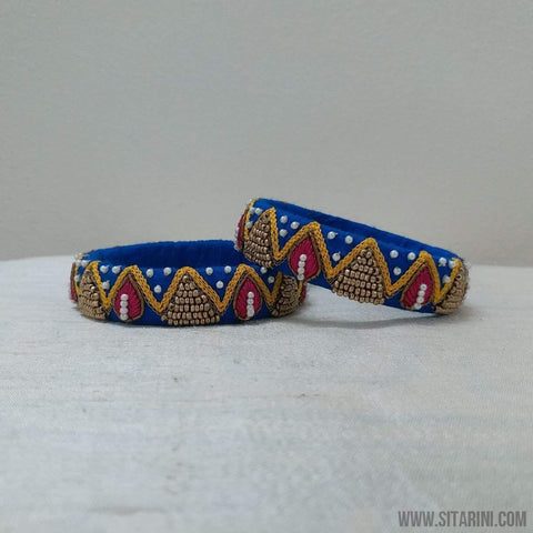 Maggam Work Bangles-Blue-Medium-Sitarini