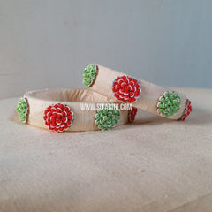 Maggam Work Bangles-Cream-Medium-Sitarini