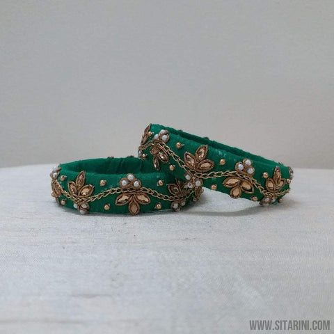 Maggam Work Bangles-Green-Medium-Sitarini