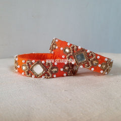 Maggam Work Bangles-Orange-Medium-Sitarini