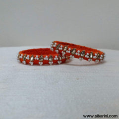 Maggam Work Bangles-Orange-Thin-Sitarini