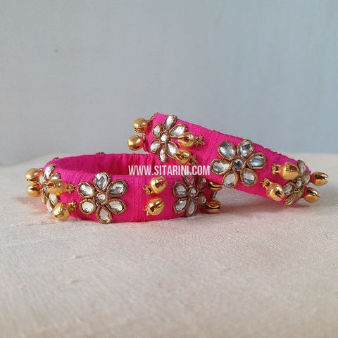 Maggam Work Bangles-Pink-Medium-Sitarini