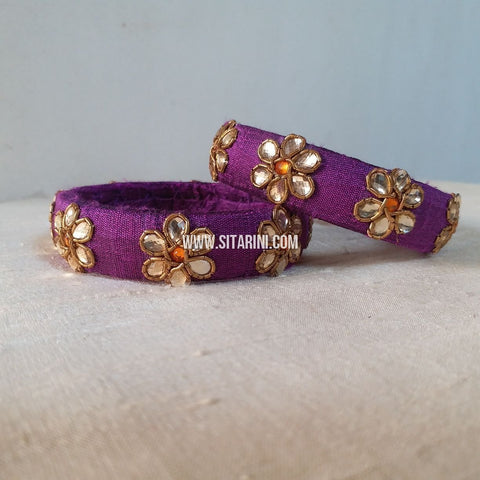 Maggam Work Bangles-Purple-Medium-Sitarini