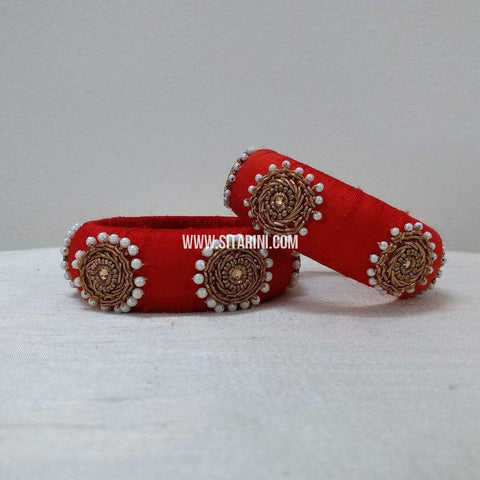 Maggam Work Bangles-Red-Broad-Sitarini