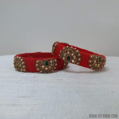 Maggam Work Bangles-Red-Medium-Sitarini