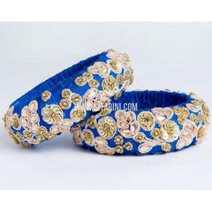 Maggam Work Bangles-Royal Blue-Broad-One Piece-Sitarini