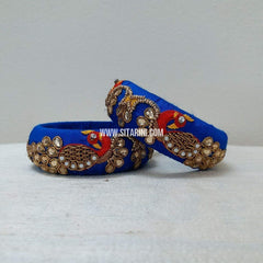 Maggam Work Bangles-Royal Blue-Broad-Sitarini