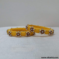 Maggam Work Bangles-Yellow-Thin-Sitarini